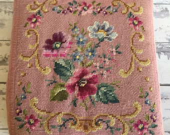 Vintage Needlepoint Cushion Pillow  Square Small Pin Floral Handmade Seat Cushion