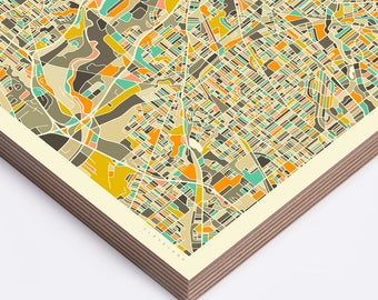 CLEVELAND MAP (Ready to Hang, Birch Wood Print for your Home Décor)