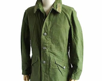 Vintage 1960s 1970s Swedish Army jacket M59 military coat combat field green