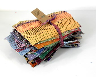 kantha quilt scraps, about 450 grams, patchwork supplies, sewing supplies