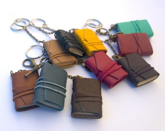 Set of 5 Mini Book Keychains, tiny book, leather journal