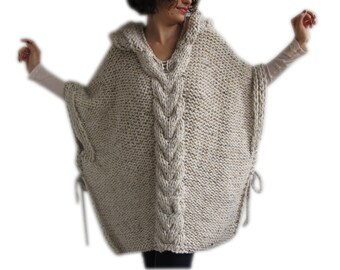 Tweed Beige Hand Knitted Poncho with Hood