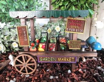 Fairy Garden Miniature Farmers Market Cart with Veggies mini fairy cottage door house