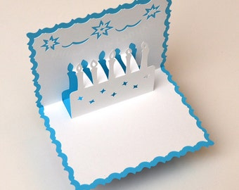 Pop-Up Birthday Card - 3D Birthday Cake Light Blue