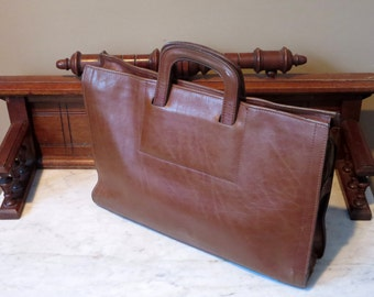 Etsy BDay Sale Renwick Brown Bull Hide Leather Double Gusset Briefcase Attache -Very Nice