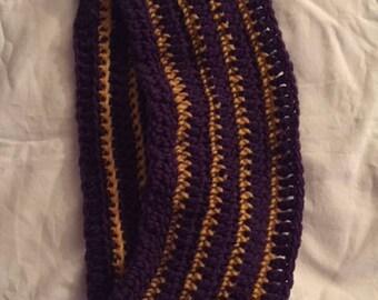 Hand Crochet Striped Cowl Purple Gold