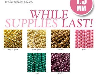 Colored Necklace Chains. 50 Petite 1.5mm Colored Ball Chains. Choose Your Color.