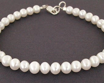 White Pearl Strand Bracelet with Sterling Silver Clasp in Small to Large Sizes