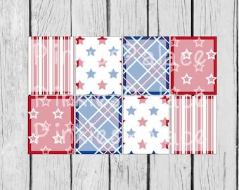 8 Planner Stickers Full Box Vertical Horizontal Shaded Planner Stickers Americana Patriotic 4th of July PS379a/d