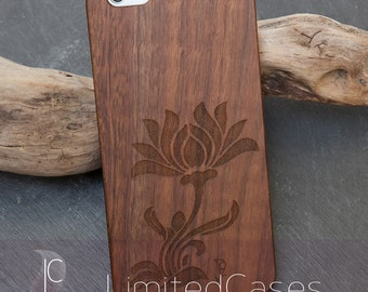 "Case for iphone 6plus, 6s Plus with genuine Walnut-Wood edition, laser engraving ""Stilblüte"""