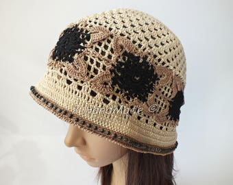OOAK Irish Lace Boho Style Crochet Women Ladies Vintage Romantic Victorian Cloche Beanie Bandana Hat Beige Brown Black Wood Beads