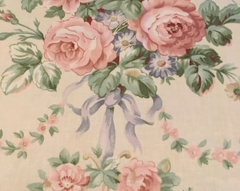 Pink Roses Waverly Pavillion Scroll Fabric