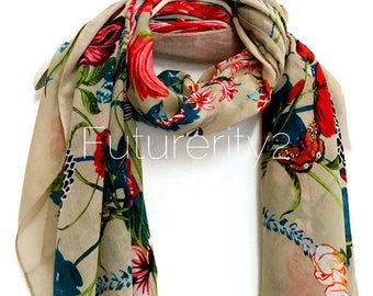 Multi Flowers Beige Scarf / Spring  Summer Scarf / Autumn Scarf / Gifts For Her / Women Scarves / Handmade Accessories