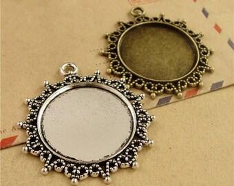 "25pcs 25 mm 1 inch 1"" Round Zinc Alloy Pendant Trays  Antique Style Pendant Blanks Bezel Setting"