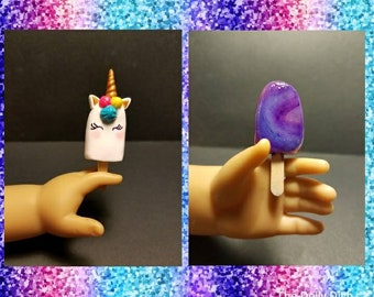 """Unicorn or Space Themed Galaxy  Popsicles for  18"""" Dolls  (American Girl, Springfield, Our Generation...)"""