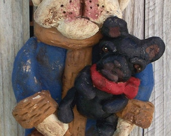 Nostagic French Bull Dog Santa Ornament Folk Art Cookie Doll Ooak