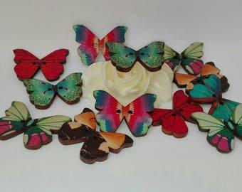 Set of 13 butterflies, 21 * 28 mm wood buttons