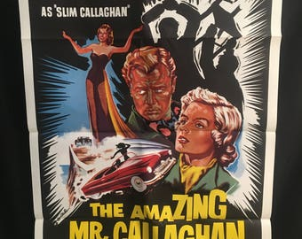 Original 1960 The Amazing Mr Callaghan One Sheet Movie Poster, Noir, Race Car, Tony Wright, Teen Cult, Racing, Exploitation