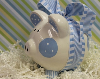 Piggy Bank Blue - Personalized & Hand Painted