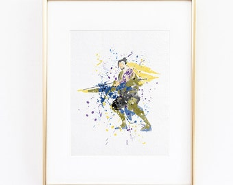 Overwatch Hanzo Watercolor silhouette Fine Art Print Digital Printable, high quality poster for wall decor