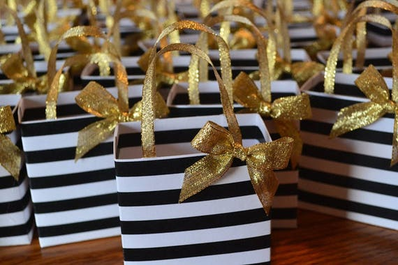 Black And White Stripe Party Favor Bag With Gold Bow And