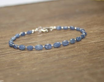 Blue Sapphire Bracelet, Sapphire Jewelry, Faceted Beads, September Birthstone, Something Blue, Gemstone Bracelet