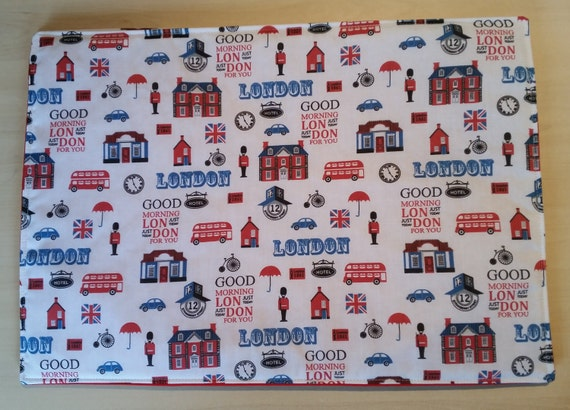 Pair Of London Themed Fabric Table Mats Place
