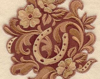 LEATHER HORSESHOE - Machine Embroidered Quilt Blocks (AZEB)