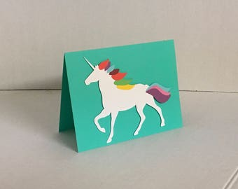 Rainbow Unicorn Blank Card , PaperCut , Horse , Magical , Adults , Teens , Kids , Free Shipping