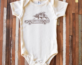 Christmas Baby Outfit - Screen Print - Organic Baby Clothes - One Piece - Station Wagon - Organic Cotton - Bodysuit - Romper - Toddler Shirt