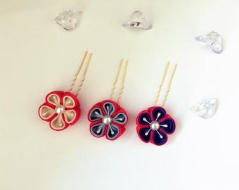 Kanzashi tsumami Fabric Flower Hair Pins Hair Clip. Kanzashi Set of 3 Hair Pieces. Japanese Geisha's hair ornaments Sakura hair pins.