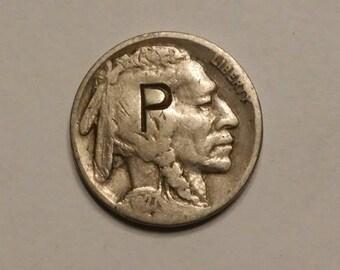 1927 Buffalo Nickel Counterstamped P