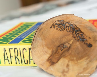 Pyrography wood slice: Zebra design