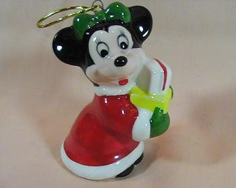 Vintage Schmid Disney Minnie Mouse Ceramic Christmas Ornament, Made in Korea, Walt Disney, Collectible Ornament