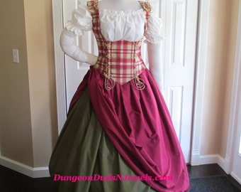 DDNJ Choose Fabrics 4pc Renaissance Corset Style Underbust Bodice Chemise Skirts Plus Custom Made Any Size Pirate Medieval Wench Costume SCA