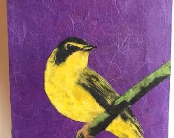 Original Goldfinch chigirie torn paper no paint fine art original bird avian art rectangular purple yellow reclaimed wood
