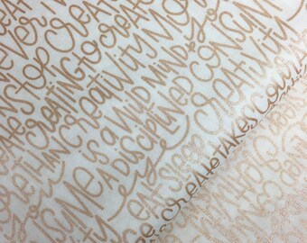 Text in Rose Gold Metallic from Riley Blake, Rose Gold Metallic, Wedding Fabric, Text, Cotton Fabric, Choose the Cut
