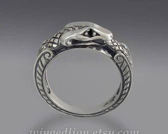 OUROBOROS 14K white gold mens unisex ring Snake with black diamond eyes