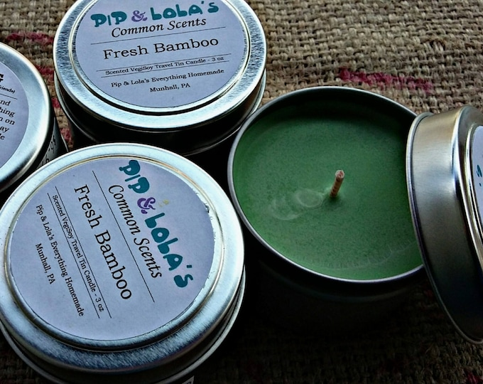 Fresh Bamboo Scented Travel Tin Candle - Pip & Lola's Common Scents - Soy Candle Wax, Travel Tin, Soy Wax, EcoSoy, Candle, Lightly Scented
