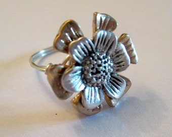 Gold and Silver Button Wire Wrapped Ring, Button Ring, Wire Wrapped