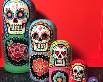 Sugar Skull Nesting Dolls