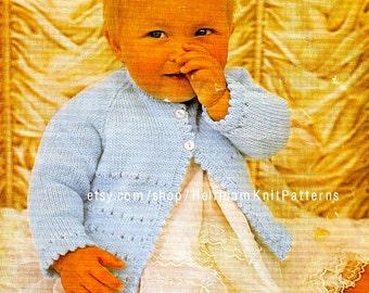 Simple Matinee Coat Vintage Knitting Pattern 18-19'' DK 4Ply QK 3Ply Baby Coat Knitting Pattern Instant Download PDF Pattern - 2109