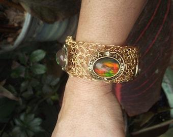 Gold woven rainbow stone bracelet