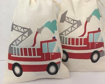 Favor Muslin bag :Fire trucks .  5 x 7
