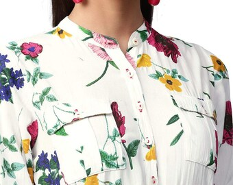 Floral Print dress, White and Pink floral print,  Straight Rayon Kurta, Shirt Style Kurta, Full Sleeves dress. Spring dress, Bohemian dress