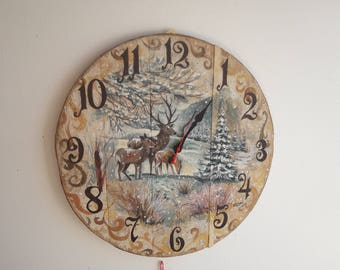 Clock wood old hand painted