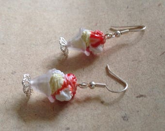 Earrings sundae strawberry-vanilla