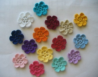 Crocheted Small Flower Appliques, Embellishments, Earrings, Magnets or Pins - Your Choice of Colors