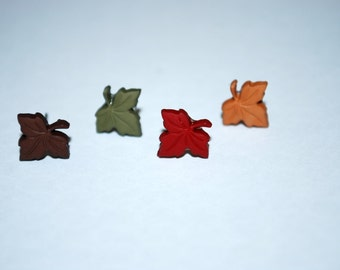 Leaf Studs -- Tiny Leaf Earrings, Tiny Leaf Studs, Leaves, Pick your favorite color!