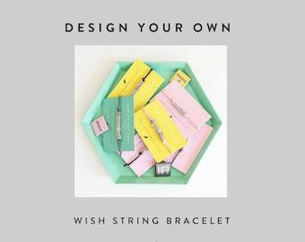 Design Your Own Wish String Bracelet - Beaded Name Bracelet - Silver Letter Bracelet - Personalised Bracelet - Friendship Bracelet